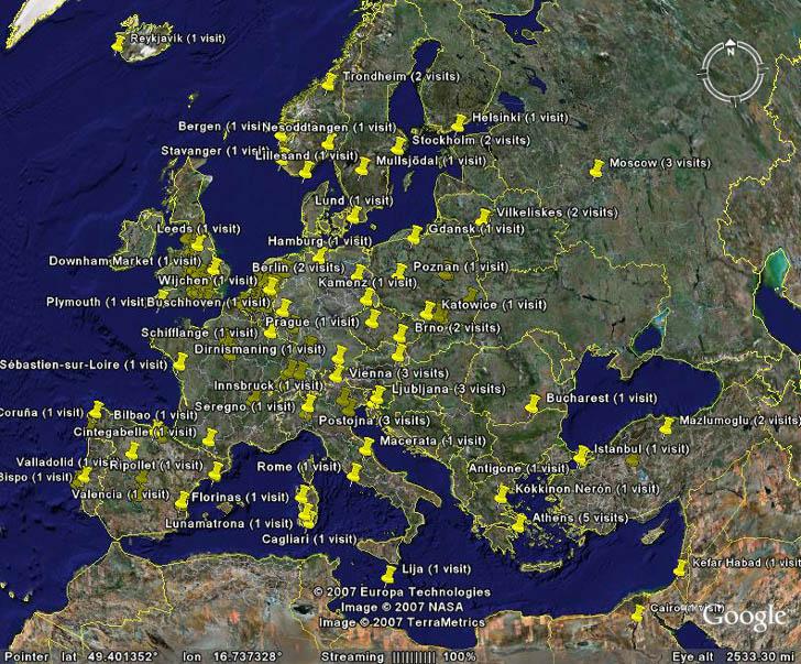 Google Analytics data plotted in Google Earth