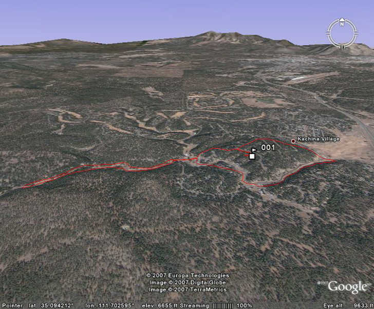 GPX track plotted in Google Earth