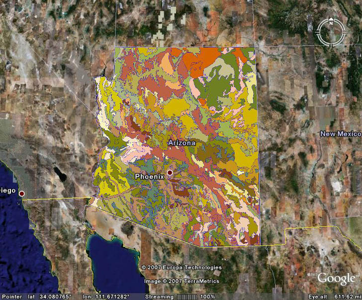 shapefile of Arizona soil converted to KML and displayed in Google Earth