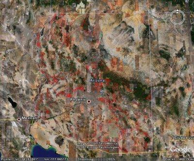 Arizona earthquake fault shapefile in Google Earth