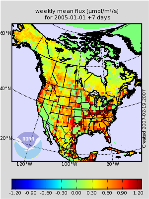 map of US carbon dioxide flux