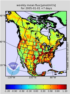 map of US carbon dioxide flux