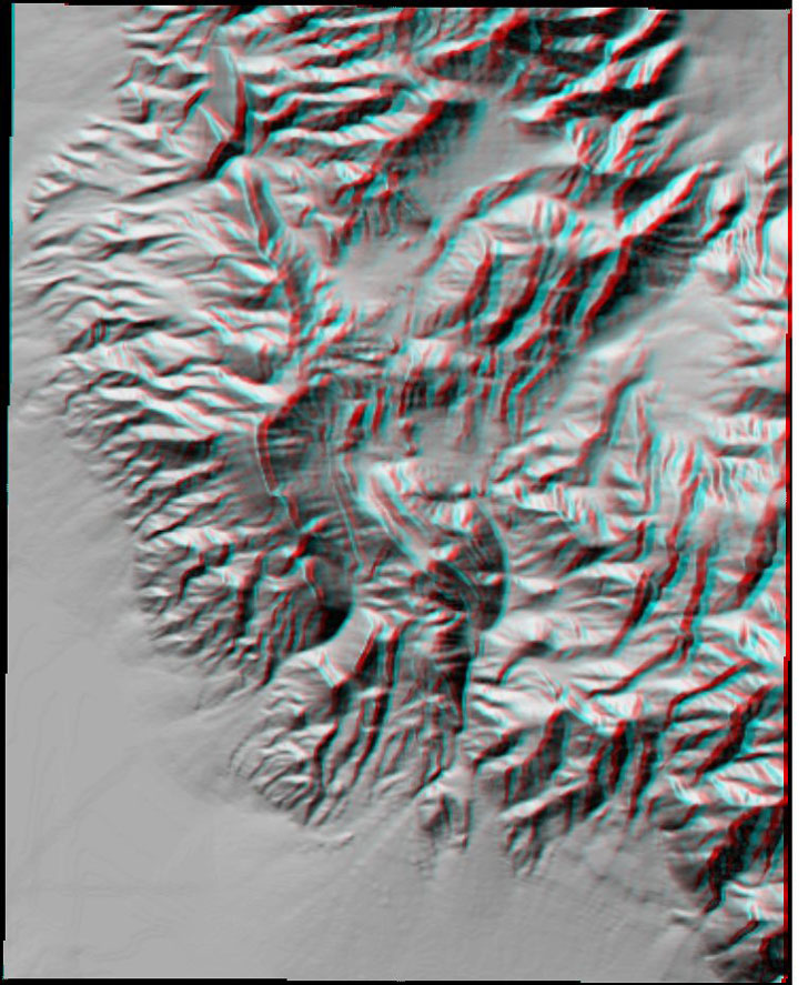 3D anaglyph terrain reflectance display in MicroDEM
