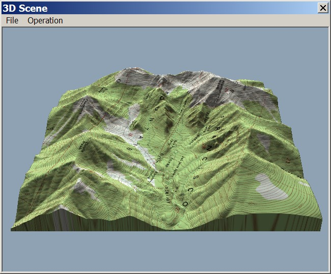 Terrain perspective view with topographic map draped in 3DEM