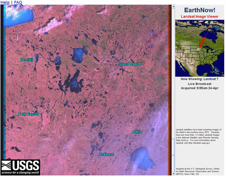 Screenshot from EarthNow website showing near real-time satellite imagery