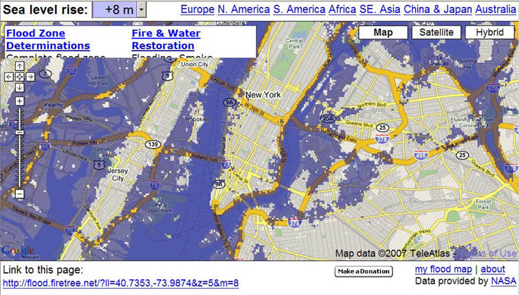 Manhattan flooded by 8 meters sea level rise in Flood Maps website