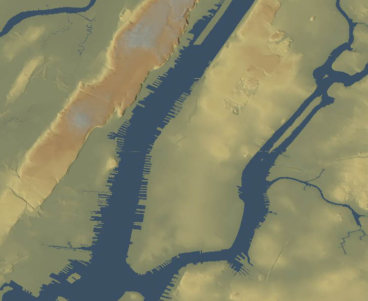 shaded terrain map of Manhattan