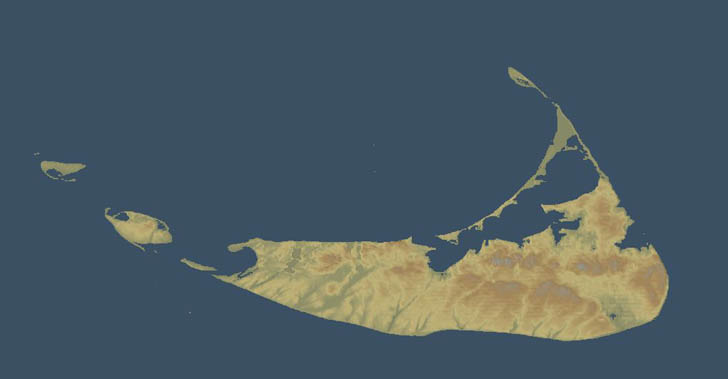 Shaded terrain map of Nantucket with 3DEM