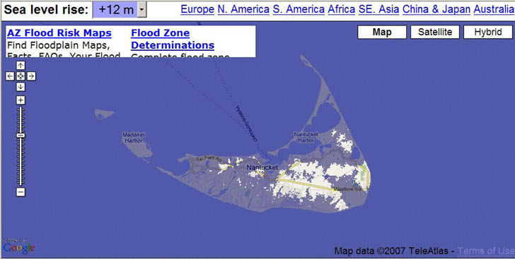 Nantucket flooded by 12 meters of sea level rise in Flood Maps website