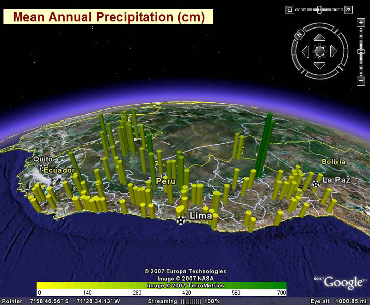Plot of precipitation in Peru in Google Earth created using GE-Graph and LocClim data