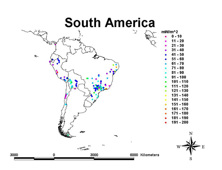South America geothermal resources map