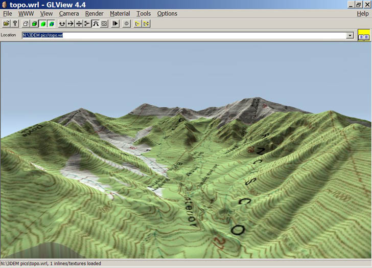 View of terrain and overlay in VRML