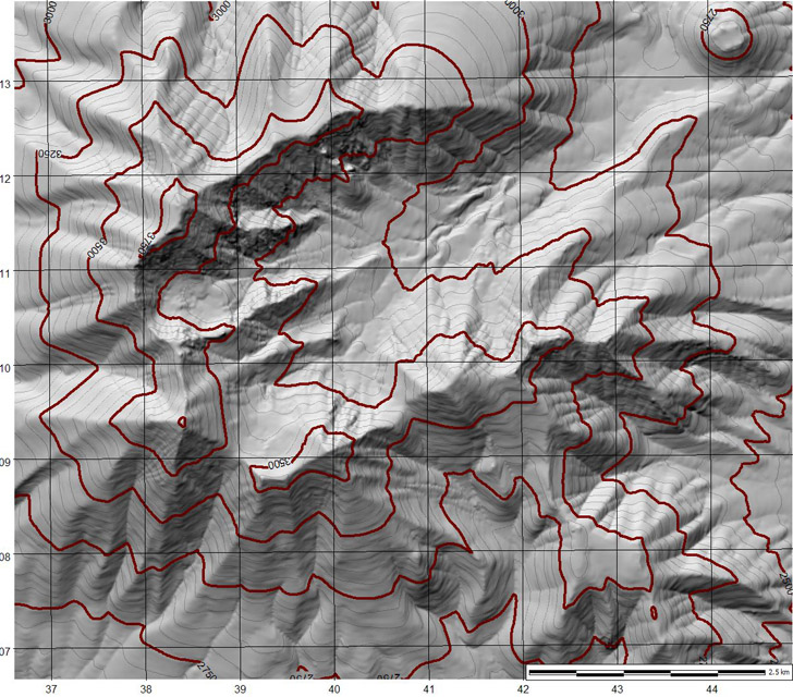 shaded contour topo map created from DEM