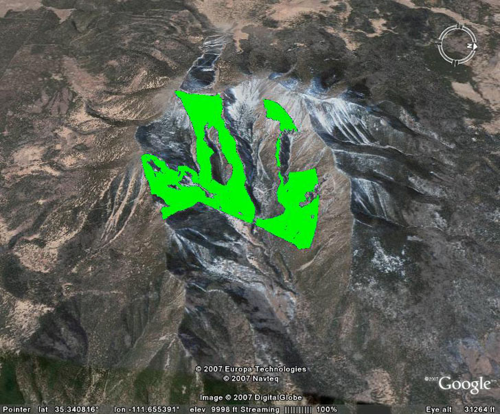 Line of sight LOS viewshed displayed in Google Earth