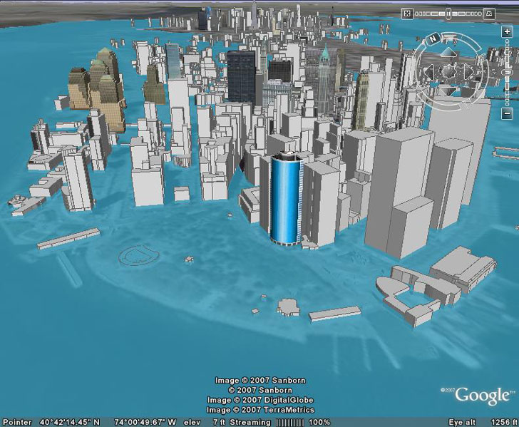 Eight meters of sea level rise in Manhattan in Google Earth