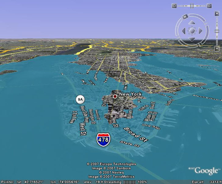 High resolution sea level rise effects in google earth eight meters of sea level rise in manhattan in google earth publicscrutiny Images