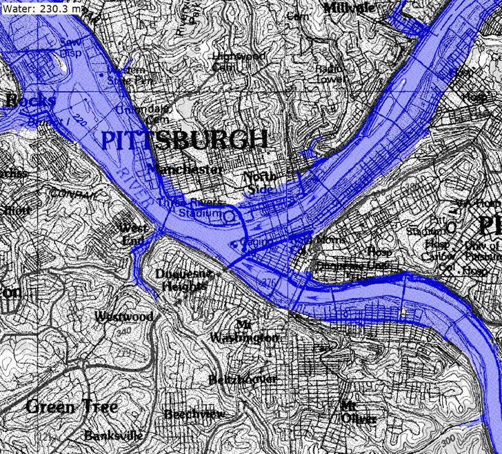 Pittsburgh flooded by river flood level rise