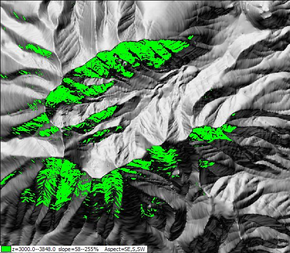 selecting areas based on terrain category like slope, aspect, elevation