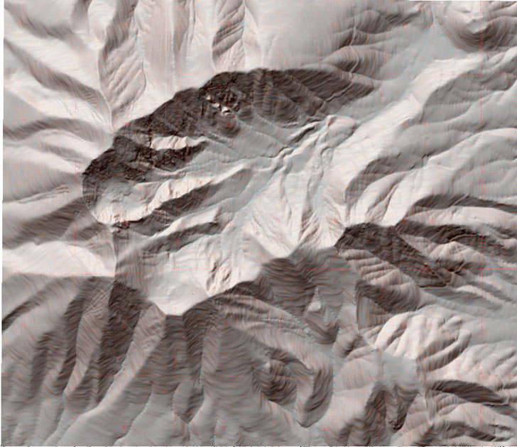 topographic map merged with reflectance terrain