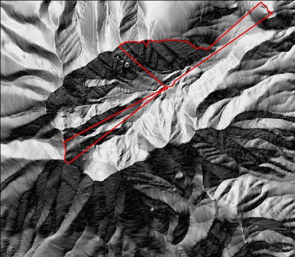DEM showing where terrain blocks the horizon