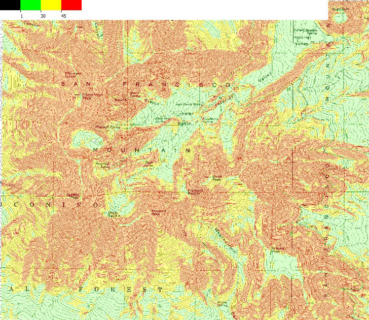topographic map merged with slope colors