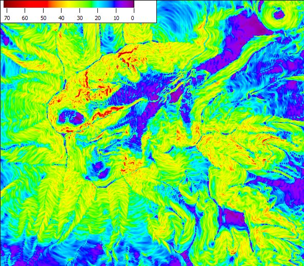 colored slope degree map generated from DEM