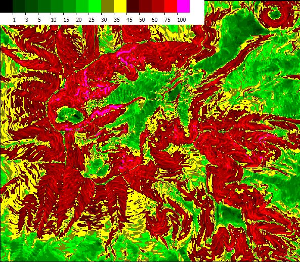 colored slope map generated from DEM