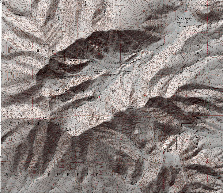 topographic map merged with terrain shading