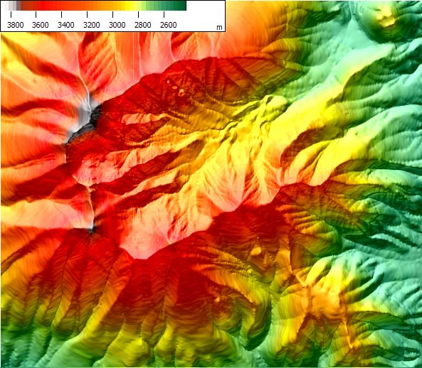 displaying DEM elevation as colors combined with terrain shading