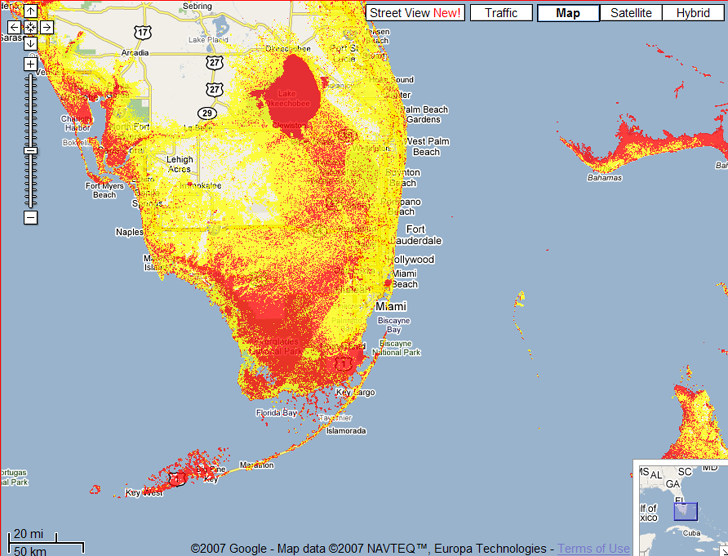 Sea Level Rise Google Mapplet - Projected sea level rise map