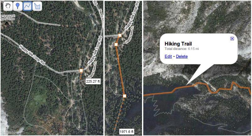 Google Maps line tool shows distance