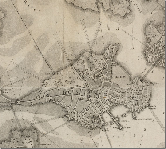 1777  Boston map