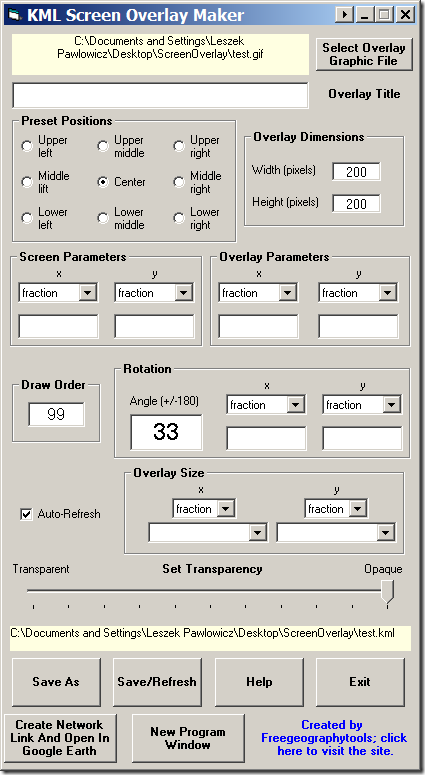 The KML Screen Overlay Maker Utility