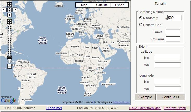 Tabular Terrain Elevation Data - Terrain elevation data