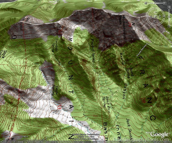 Terrain shaded topo map in Google Earth