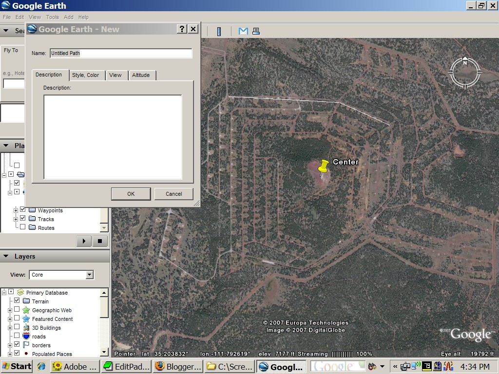 draw a path in Google Earth