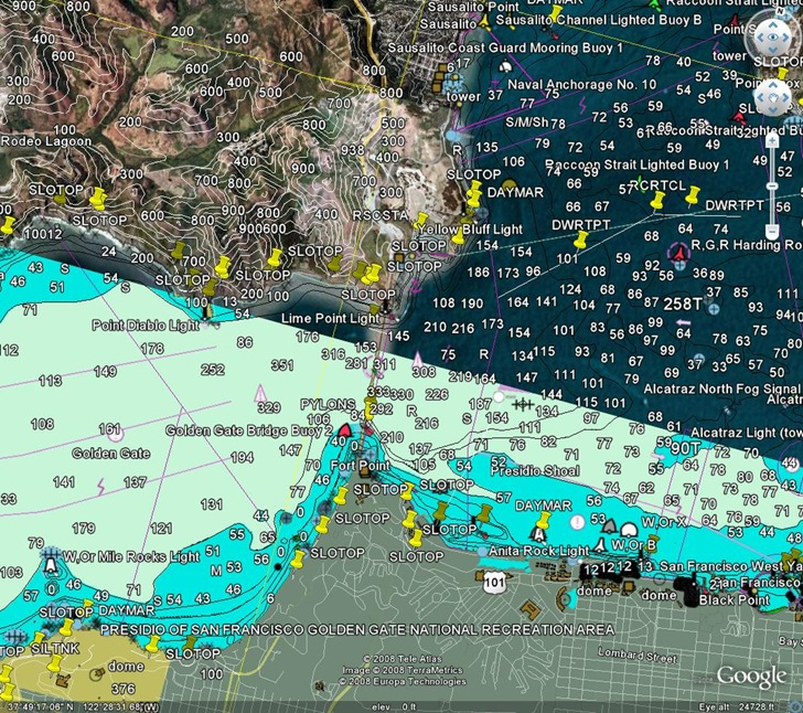 US Nautical Chart Overlay For Google Earth - Altitude map us