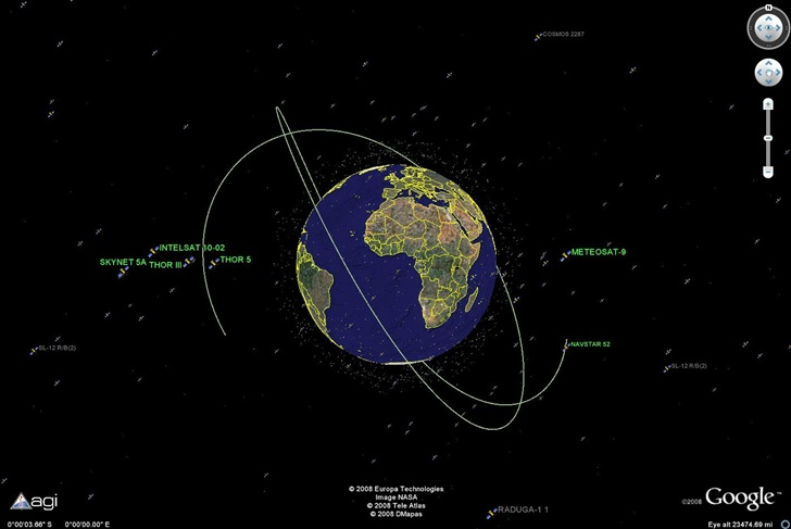 Satellite trajectory in Google Earth