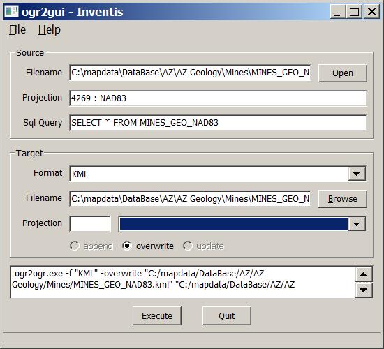 Graphical Front End For The ogr2ogr Vector File Converter