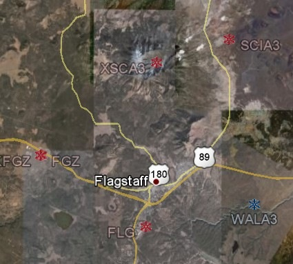 Snow measurement stations near Flagstaff