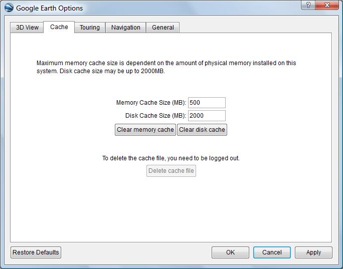 Google Earth cache options
