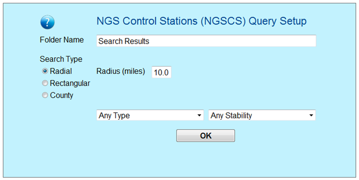 Web search form for NGS survey markers