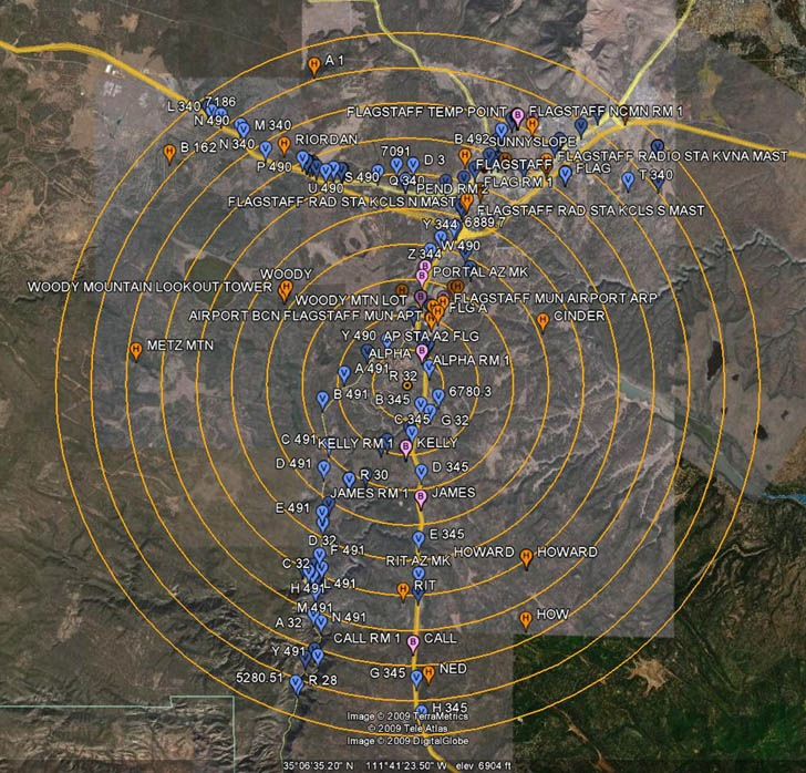 Plot of NGS survey markers in Google Earth