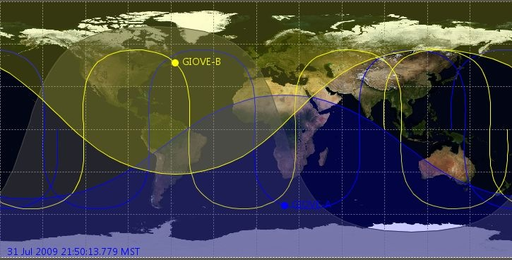 Investigate Satellite Orbit Tracks And Coverage Including GPS - Map of satellites orbiting earth