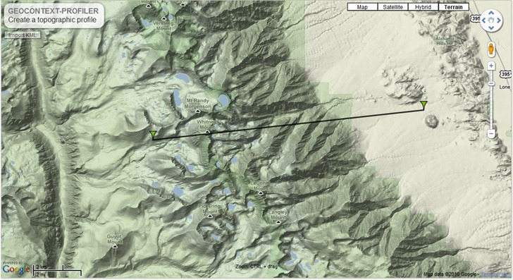 Online Elevation Profiler - Us elevation map google