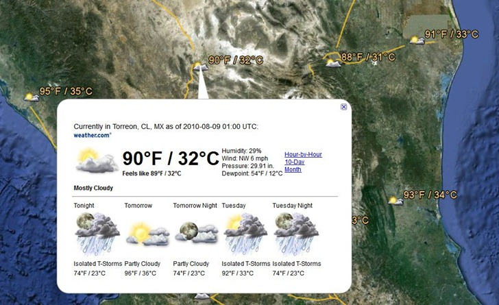 Google Earth Gets Live Weather, Sort Of