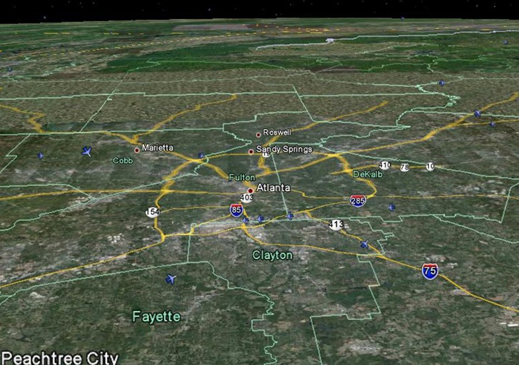 NearRealTime US Airline Flight Visualization In Google Earth - Real time maps google earth