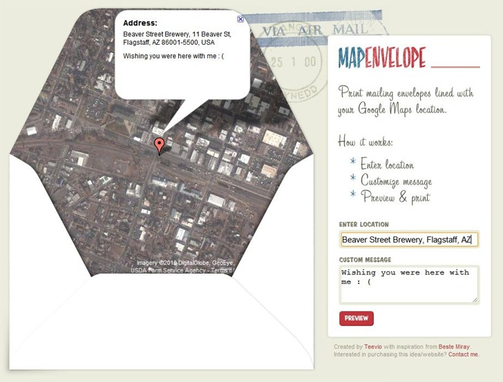 Create Your Own Google Map Envelope